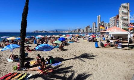 The beach at Benidorm, Spain