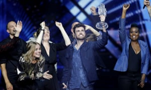 Duncan Laurence of the Netherlands celebrates after winning the 2019 Eurovision song contest in Tel Aviv, Israel.