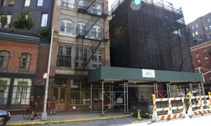 Scaffolding covers the firehouse that was featured in the 1984 Ghostbusters.