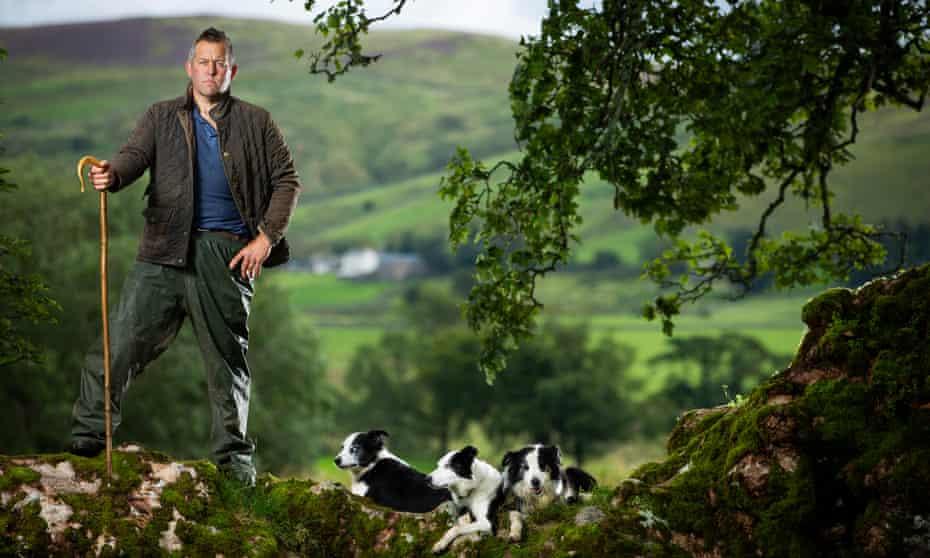 Writer and farmer James Rebanks, with his Herdwick sheep at Racy Ghyll Farm, Penruddock, Penrith, Cumbria, England
