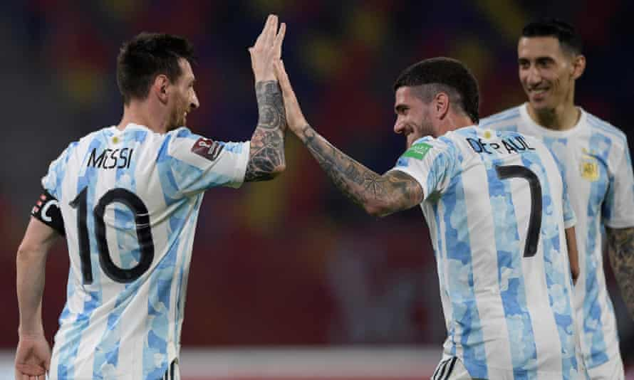 Rodrigo de Paul celebrates with Lionel Messi after the Barcelona forward scored for Argentina in last week's 1-1 draw with Chile in a World Cup qualifier