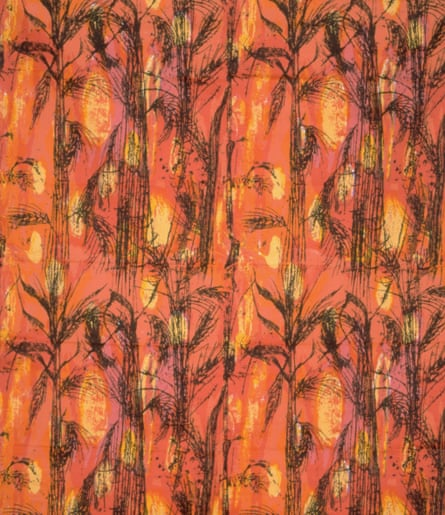 McNish's Golden Harvest design of 1959; a screen print on cotton satin used for upholstery fabrics.