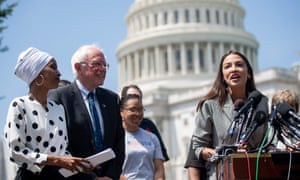 Alexandria Ocasio-Cortez speaks alongside Bernie Sanders in June.