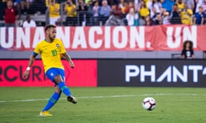 Neymar scores a first half penalty to make the score 2-0 to Brazil