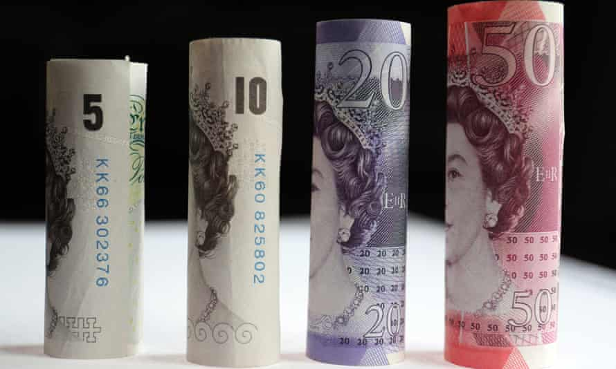 A selection of £5, £10, £20 and £50 notes