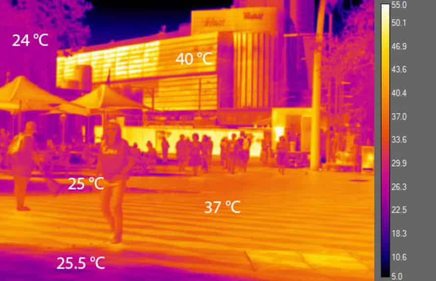 Thermal imaging photograph of Sydney showing high surface temperatures of asphalt roads and buildings, lower temperatures in shade