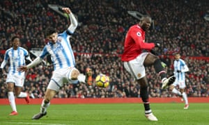 Romelu Lukaku volleys in to break the deadlock at Old Trafford.