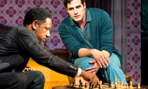 Test-of-wills chess game … Tory Kittles as Paul Robeson and Ben Cura as José Ferrer in 8 Hotels.