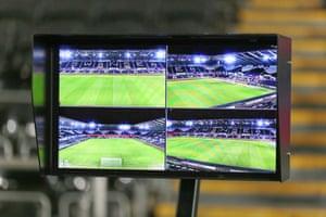 A VAR screen pitchside at the Liberty Stadium