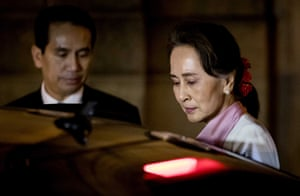Myanmar's leader, Aung San Suu Kyi, departs the Peace Palace after the third day of hearings on the Rohingya genocide case in The Hague.