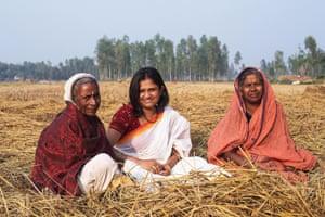 Rising Silence director Leesa Gazi (centre) with survivors of sexual violence Birangona Rju Bala and Shurjyo Begum