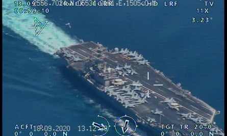 A handout picture released by the official website of Iranian Revolutionary Guard on Wednesday reportedly shows the USS Nimitz Aircraft carrier prior to entering the Strait of Hormuz and Persian Gulf.