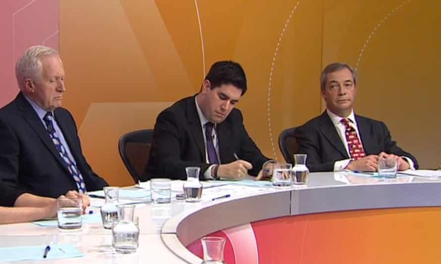 Nigel Farage on the Question Time panel last week.