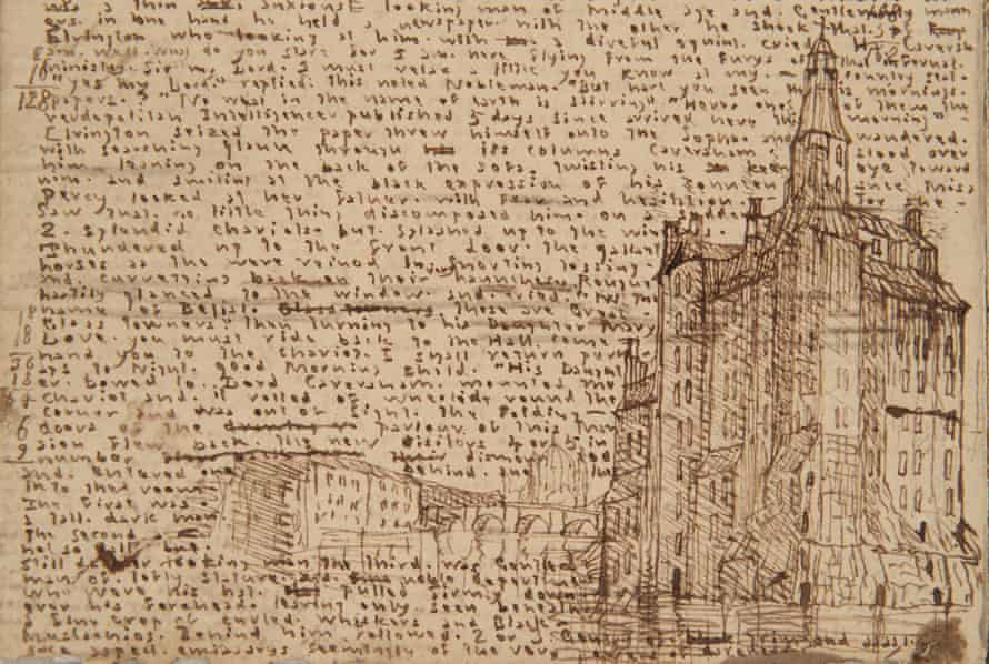 A sketch of a tall building drawn from Branwell Brontë's imagination