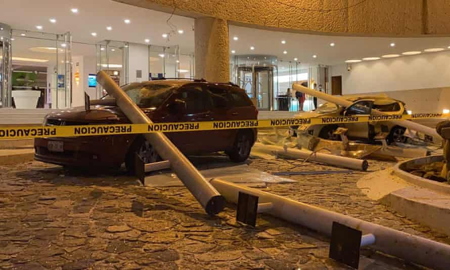 Cars were damaged outside a hotel in Acapulco after a 7.0 magnitude earthquake struck Mexico.
