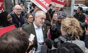 01/05/2017 Clapham Junction. London. Labour leader Jeremy Corbyn joins party members campaigning in Clapham on housing. Photo SEAN SMITH