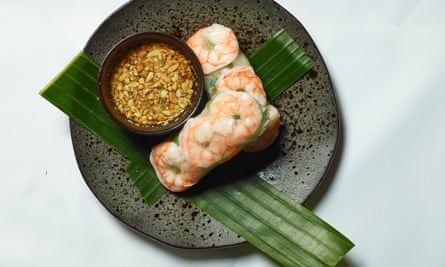 'Translucent rice paper skins are wrapped around bulky king prawns': summer rolls.