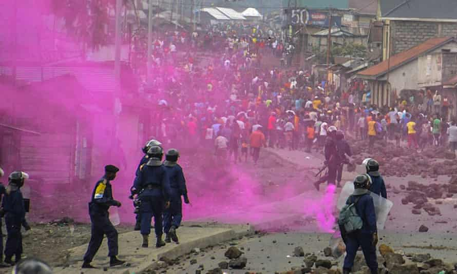 Police fire flares during a demonstration in Goma earlier this week.