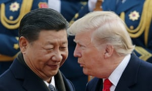 Trump with Chinese premier Xi Jinping in 2017. Menendez warns the US 'risks undermining human rights globally and will be seen as empowering repressive regimes, like China and Russia.'