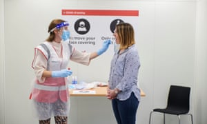 A handout photo issued by Heathrow Airport authorities of the new coronavirus testing facility inside its Terminal 2 building.