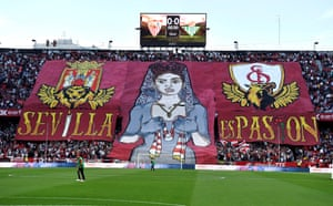 Sevilla supporters before the game.