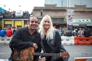 Bud Wilmer and Linda McGuyer drove to Austin from Houston, TX to check out SXSW music festival. Wilmer makes his own guitars.
