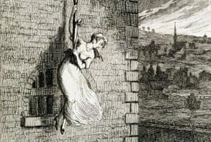 illustration by george cruikshank of elizabeth lyon escaping clerkenwell prison
