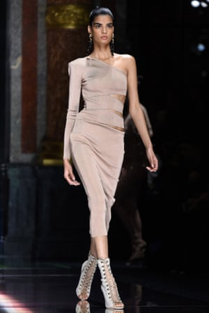 Model on the catwalk at the Balmain show.