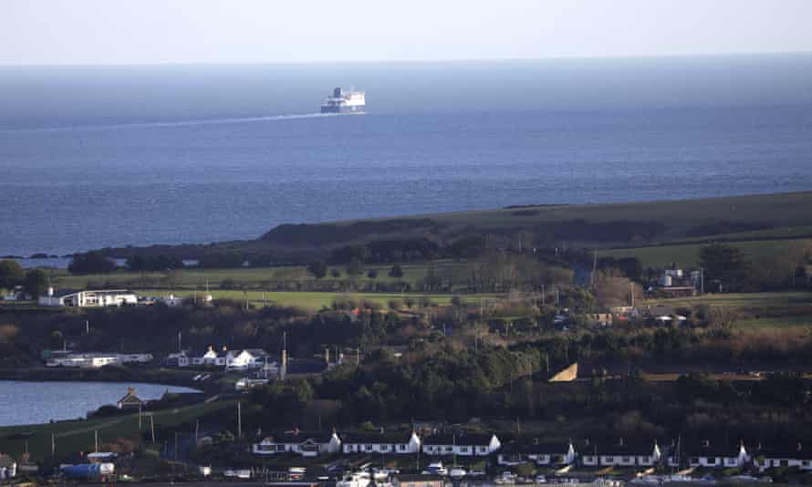 A ferry sailing away from the port of Larne, Northern Ireland.