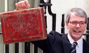 John Major holding the chancellor's red budget box.