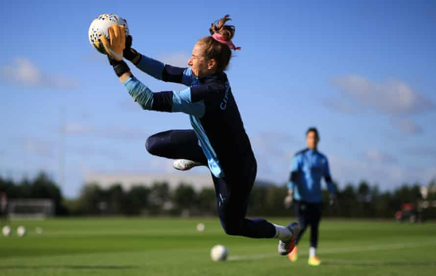 Karen Bardsley makes a save during Manchester City training last September. She has since joined OL Reign on loan.