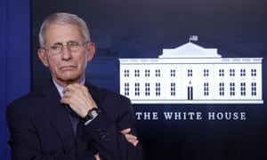 Dr. Anthony Fauci, director of the National Institute of Allergy and Infectious Diseases, listens during a briefing about the coronavirus in the James Brady Press Briefing Room of the White House, Wednesday, 1 April, 2020, in Washington.