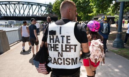 A far-right protester takes part in a Patriot Prayer rally in Portland, Oregon on 4 August 2018.