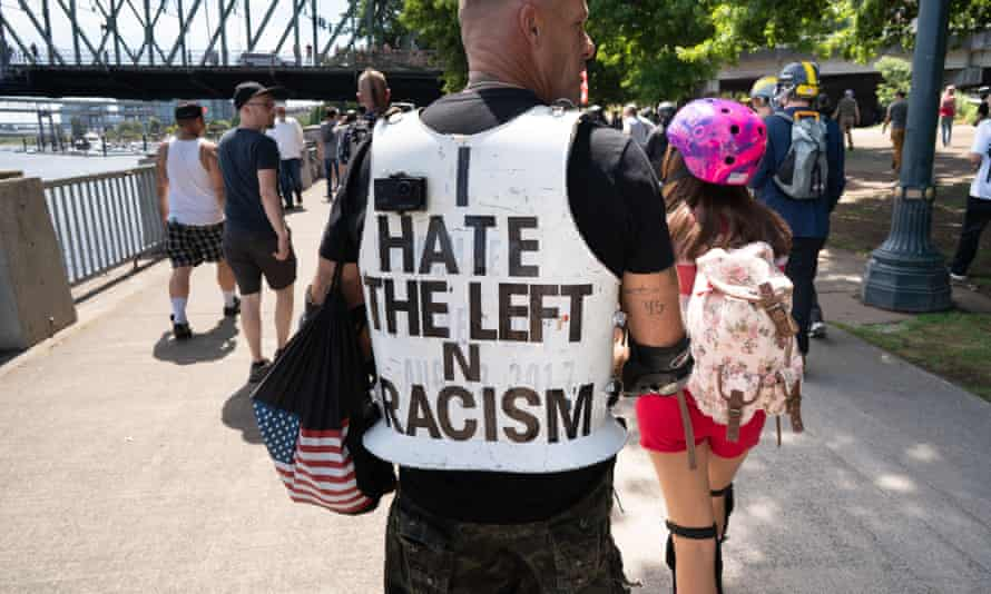 A rally in Portland on 4 August in which the Proud Boys took part.