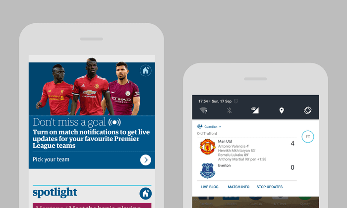 introducing our new football notifications on the guardian app football the guardian