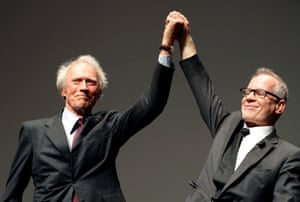'Venice plays its game' … Thierry Frémaux, right, with Clint Eastwood at Cannes 2017.