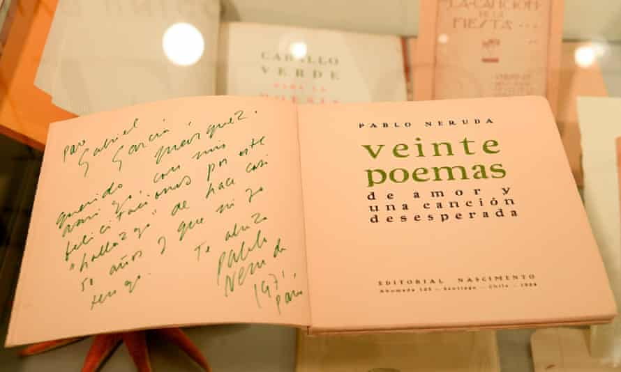 A first edition of Neruda's Twenty Love Poems and a Song of Despair, dedicated to Gabriel García Márquez.
