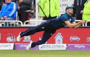 Wood takes the catch to dismiss Asif.