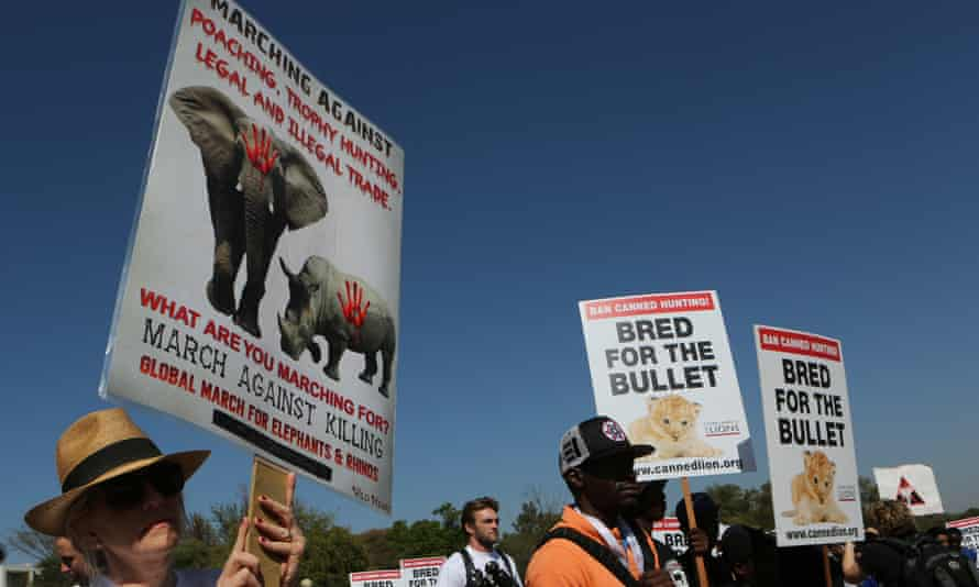Activists march to the Convention on International Trade in Endangered Species of Wild Fauna and Flora, (CITES) in Sandton, Johannesburg.