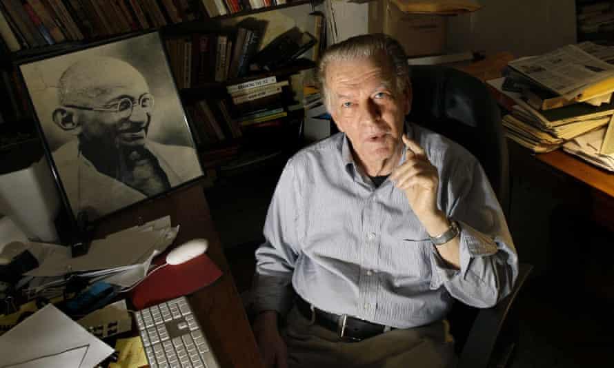 Gene Sharp at his office in Boston.