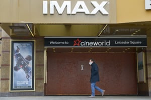 A boarded-up Cineworld cinema in Leicester Square.