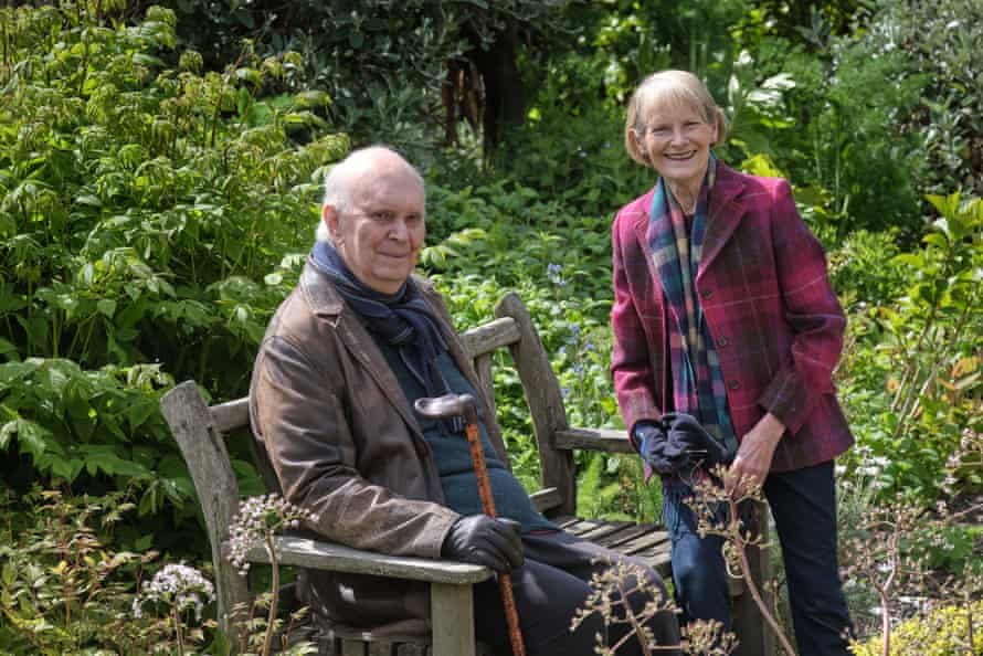 Alan Ayckbourn and Heather Stoney in their garden at home in Scarborough.