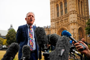 John Bercow speaks to the media outside the Houses of Parliament on 24 September after the judgment of the court on the legality of Boris Johnson's advice to the Queen to suspend parliament for more than a month