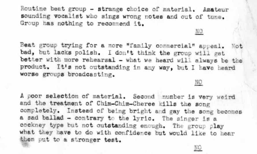 A snippet from the BBC's audition report.