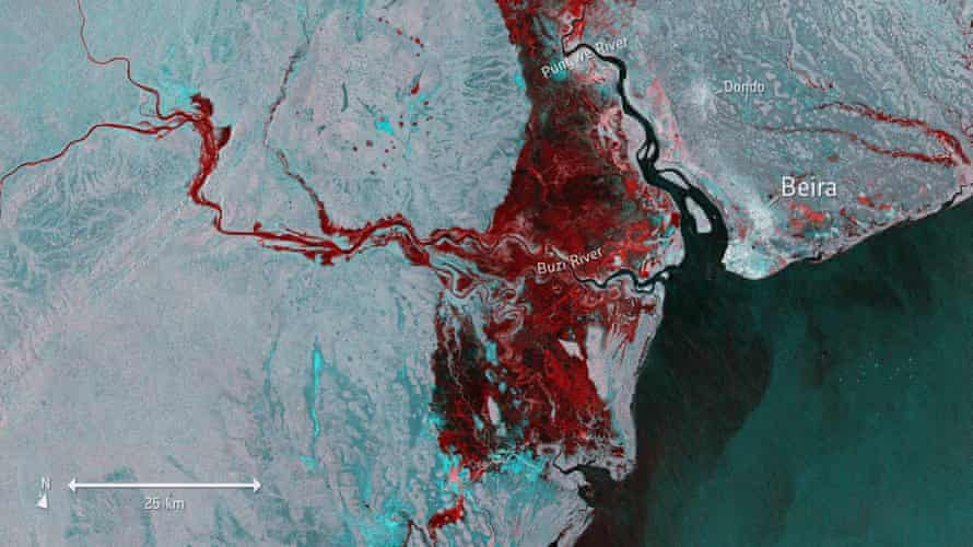 A satellite image released by the ESA that shows the extent of flooding, depicted in red, around Beira.