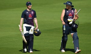 England's captain Eoin Morgan (left) shares a joke with Jonny Bairstow during Wednesday's nets session at the Ageas Bowl.