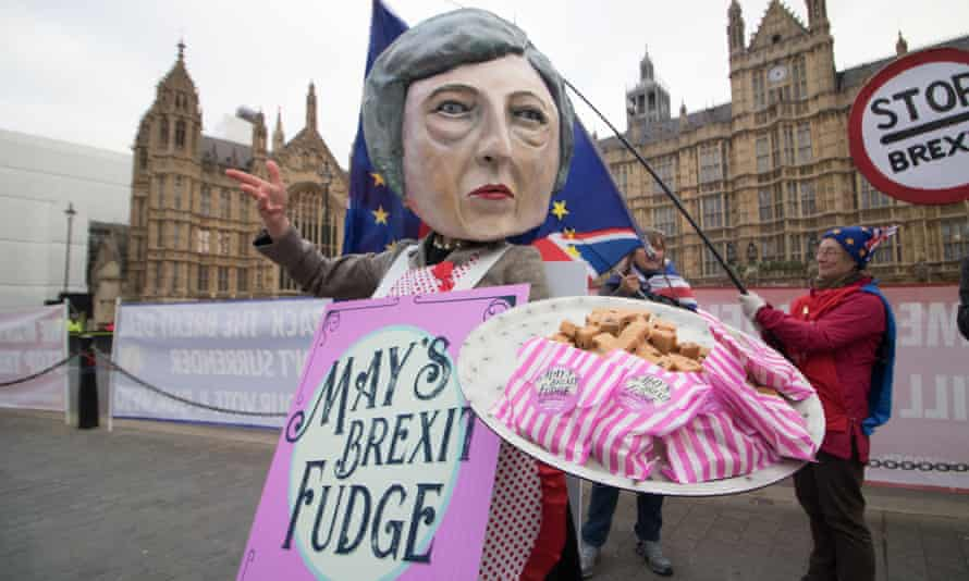 A Brexit fudge protest outside the Houses of Parliament