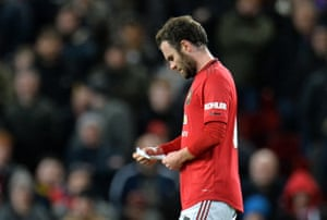 Mata reads his managers note.
