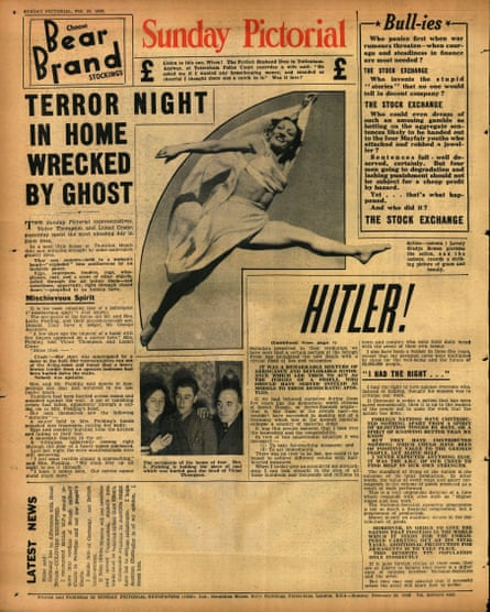 The poltergeist story of 20 February 1938 on the back page of the Sunday Pictorial.