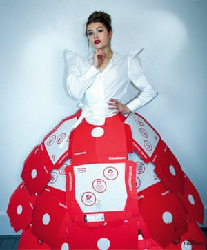 Pizza box dress made by Northumbria University fashion communication student Fauve Wright